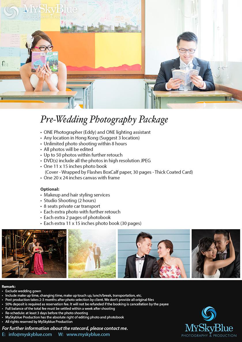 MySkyblue, Rate Card, Pre-Wedding, wedding, wedding photography, wedding photography hk, pre-wedding photography package