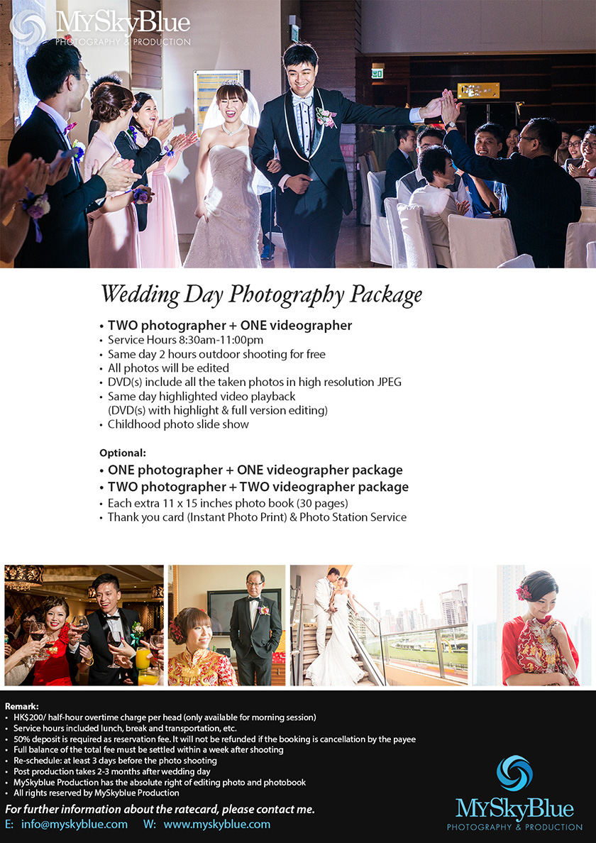 MySkyblue, Rate Card, Wedding Day, wedding, wedding photography, wedding photography hk, wedding photography package